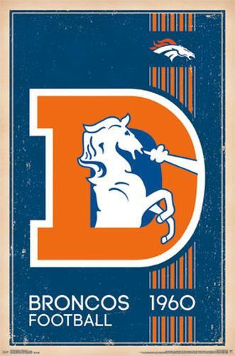 DENVER BRONCOS - RETRO LOGO POSTER - 22x34 NFL FOOTBALL 13172 in Sports Memorabilia, American Football Memorabilia, Other American Football | eBay