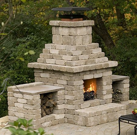 Cinder Block Outdoor Fireplace Plans | Approximate Dimensions: 10' wide, 5' deep, 8' tall
