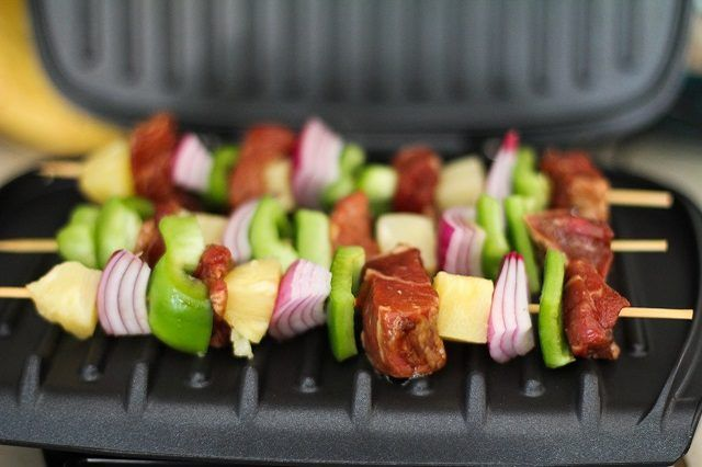 Space the kabobs evenly on the grill surface.