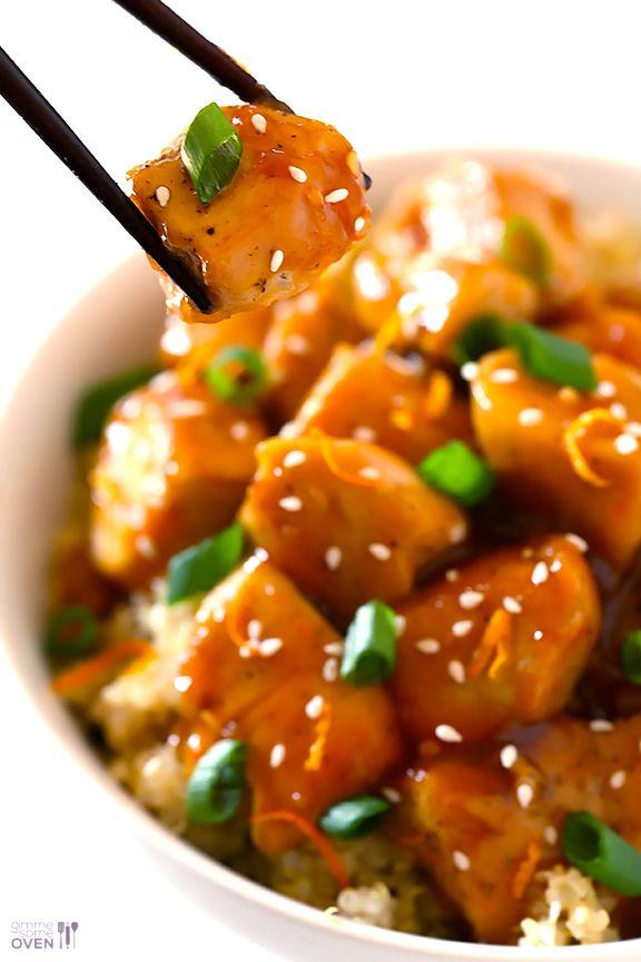 Skinny Orange Chicken Recipe -- healthier, easy, delicious and ready to go in 20!   gimmesomeoven.com #recipe #healthy