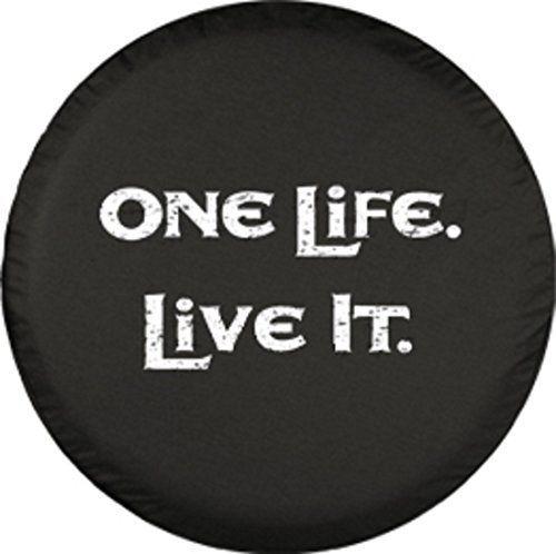 """32"""" One Life Live It - Spare Tire Cover - (Black Denim Vi"""