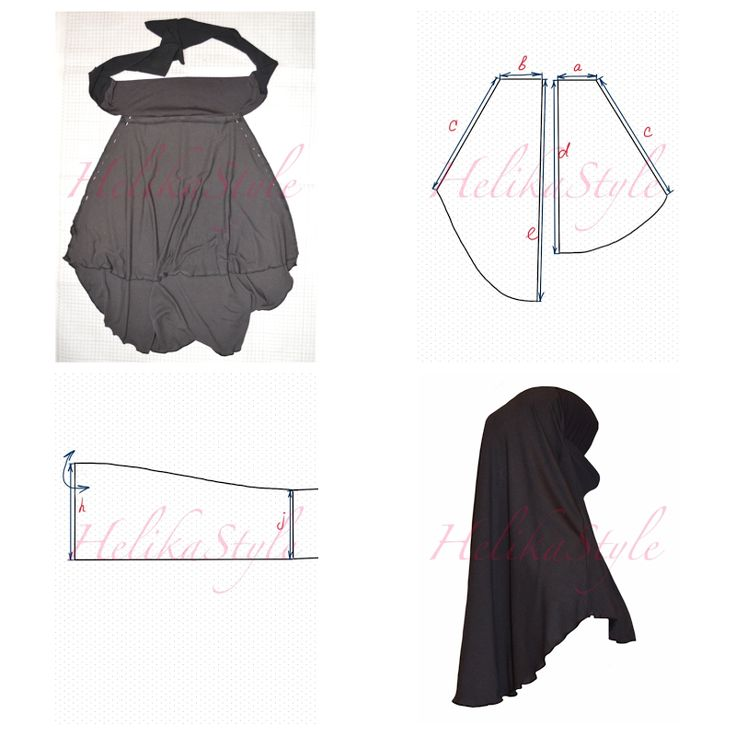 How to sew Jersey Short Khimar? Pattern, sewing tutorial and explanations :: HelikaStyle