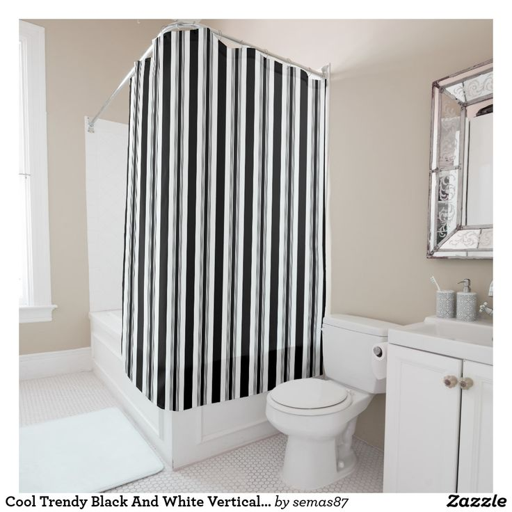 Cool Trendy Black And White Vertical Striped Shower Curtain