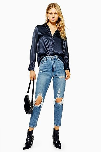 0f38e675819 Bleached Ripped Mom Jeans en 2019 | Products | Ripped mom jeans, Rip ...