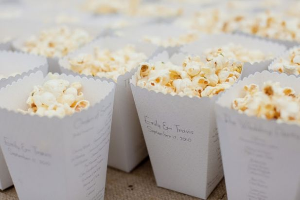 Popcorn bucket wedding program