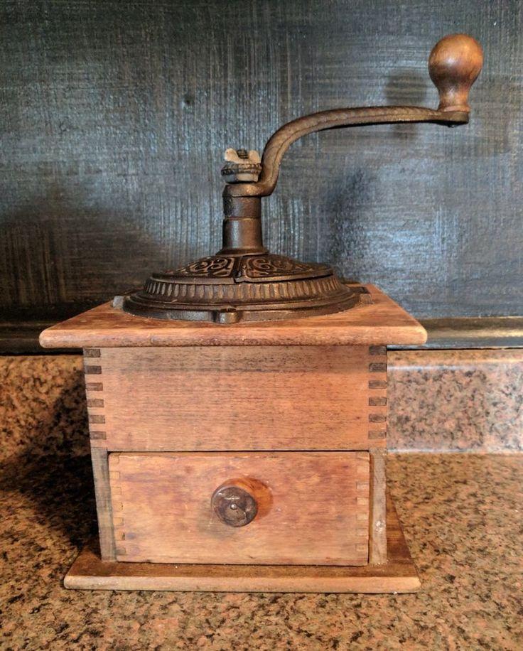 Antique Wooden Cast Iron Hand Crank Coffee Grinder w/ Drawer