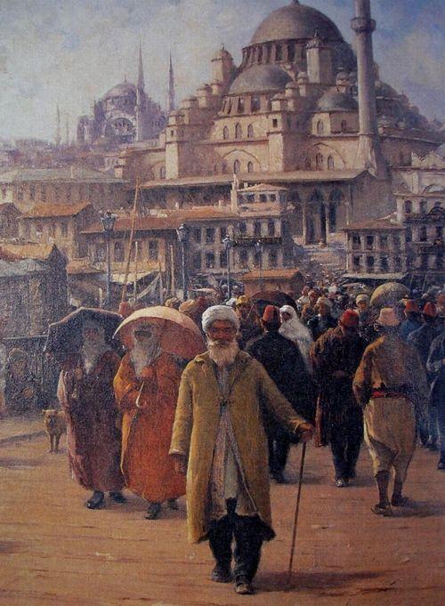 Eminönü, İstanbul  Painting by Fausto Zonaro (1854-1929)