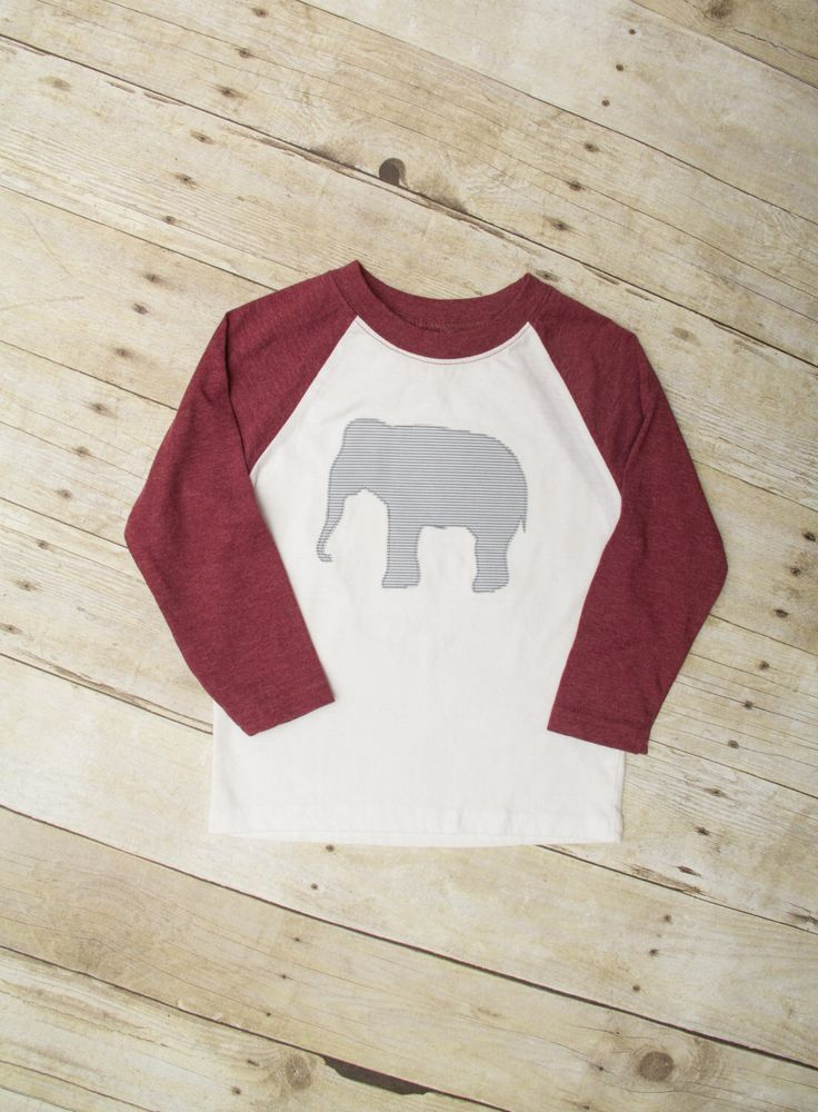 Elephant Raglan Shirt for Toddler Boy, University of Alabama Gameday Shirt, Crimson Elephant T-shirt, Long sleeve Alabama Shirt by MerryHeartDesigns on Etsy https://www.etsy.com/listing/477366979/elephant-raglan-shirt-for-toddler-boy