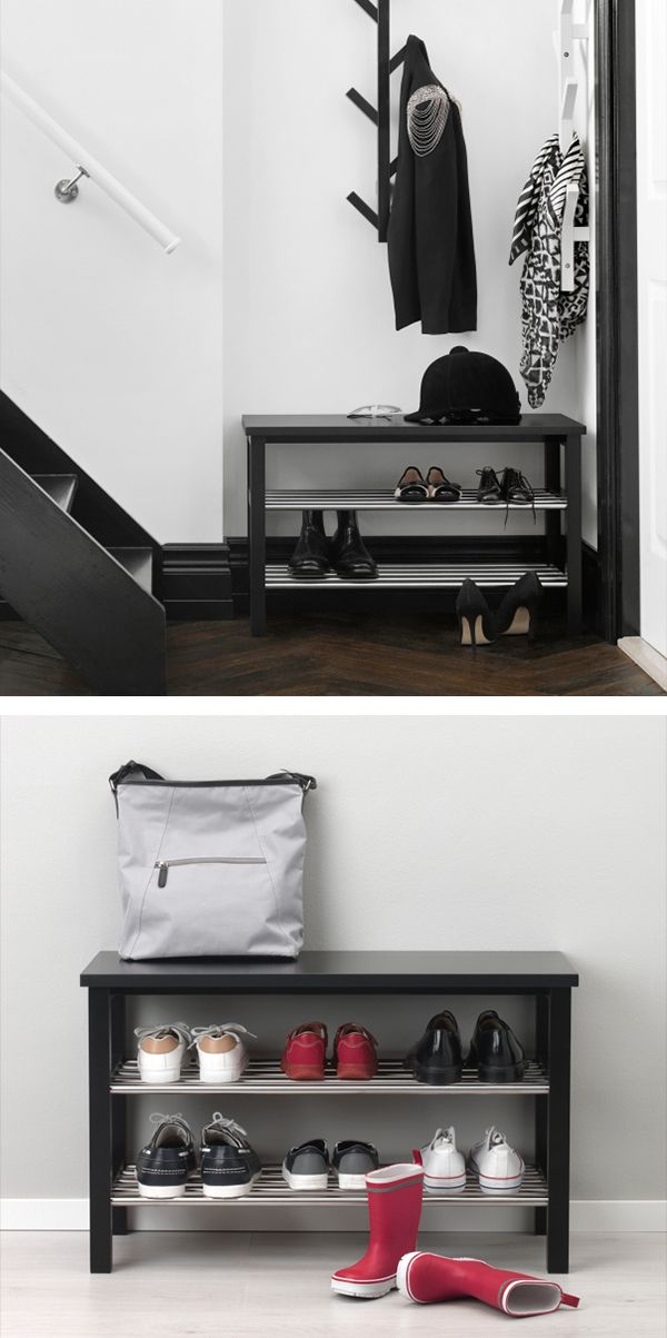 tjusig bench with shoe storage black