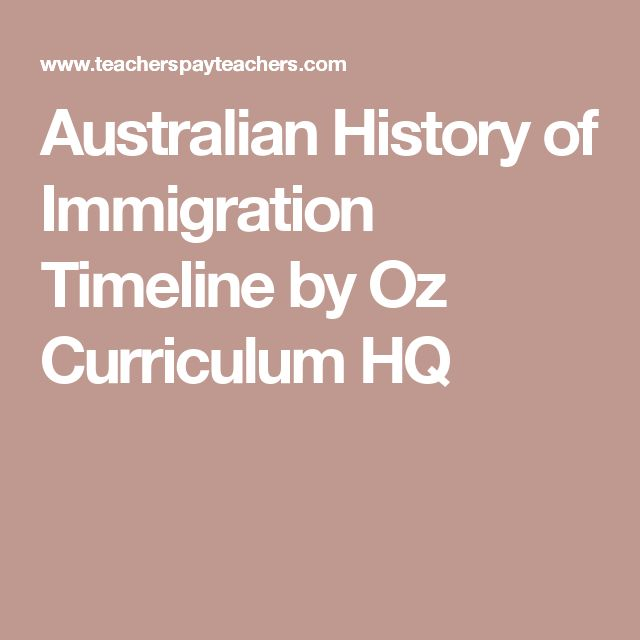 Australian History of Immigration Timeline by Oz Curriculum HQ