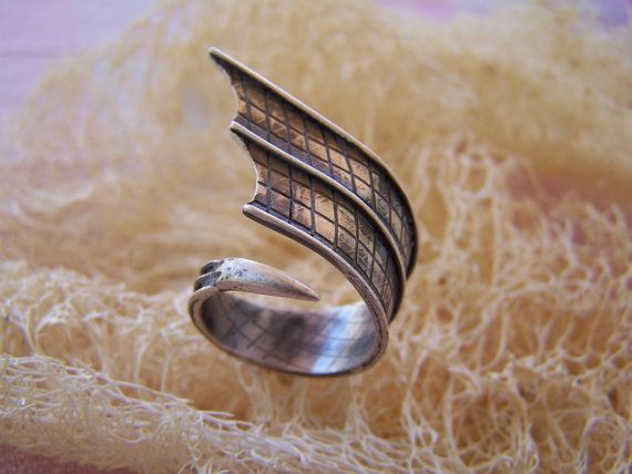 silver handmade black wing ring by archegono on Etsy