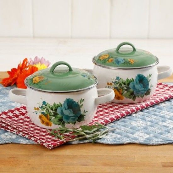 Pioneer Woman Rose Shadow 2 Pack Mini Dutch Ovens With Lids Stove To Table New #THEPIONEERWOMAN