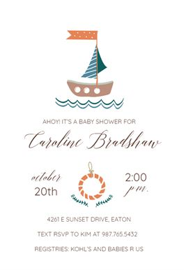 Nautical printable invitation template. Customize, add text and photos.  Print, download, send online or order printed!  #invitations #printable #diy #template #babyshower #party