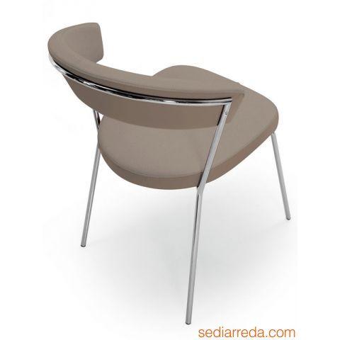 CB1084 New York - Sedia in metallo con rivestimento in similpelle color grigio tortora