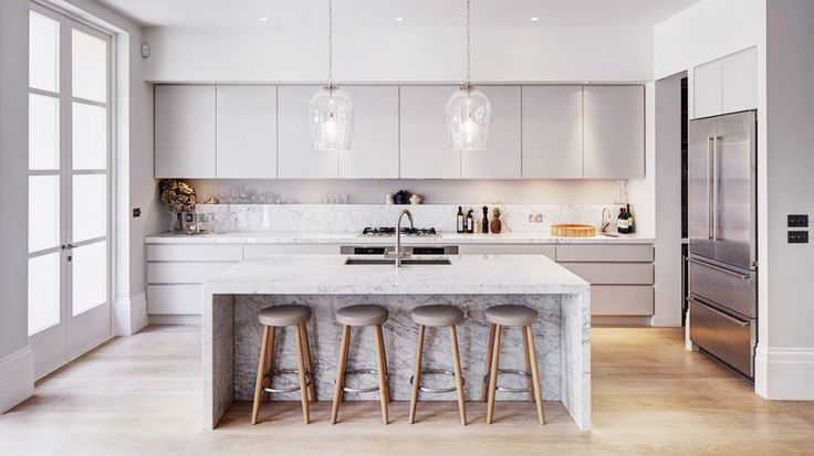 sleek, grey kitchen, marble island
