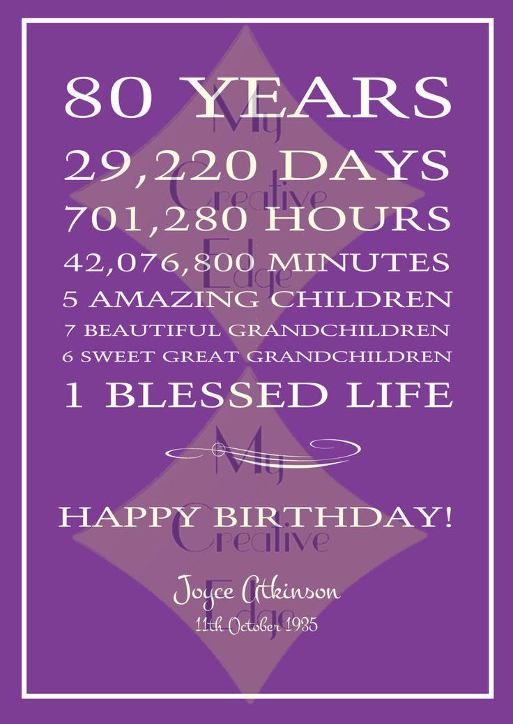 Milestone Poster - 80th Birthday by MyCreatve3dge on Etsy