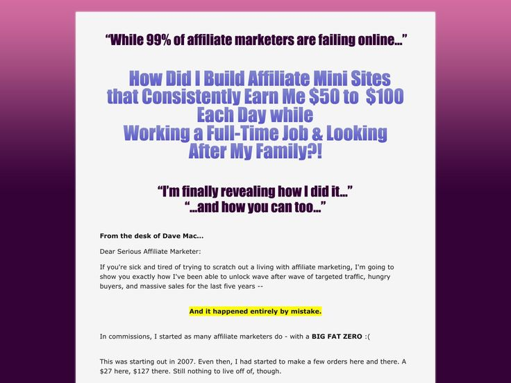 Try Affiliate Mini Site Secrets Now- http://www.vnulab.be/lab-review/affiliate-mini-site-secrets