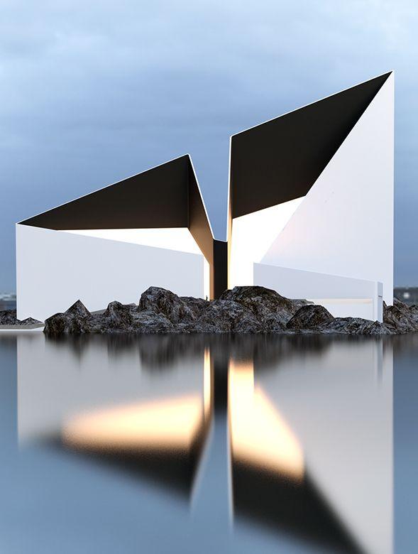 traumhaus am meer mit minimalistischer architektur und dreieckiger geneigter dachfläche aus glas