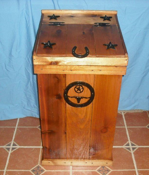 Western wood trash can