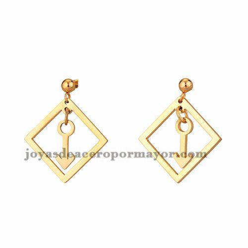 pendientes de flecha dorado en acero inoxidable ,SSEGG954311