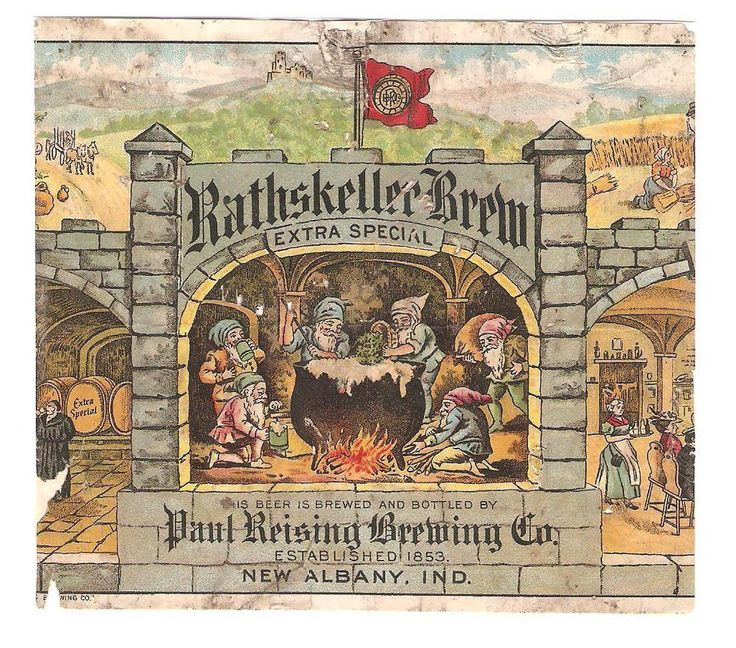 Paul Reising Brewing Rathskeller Brew Beer label Pre Prohibition New Albany IN