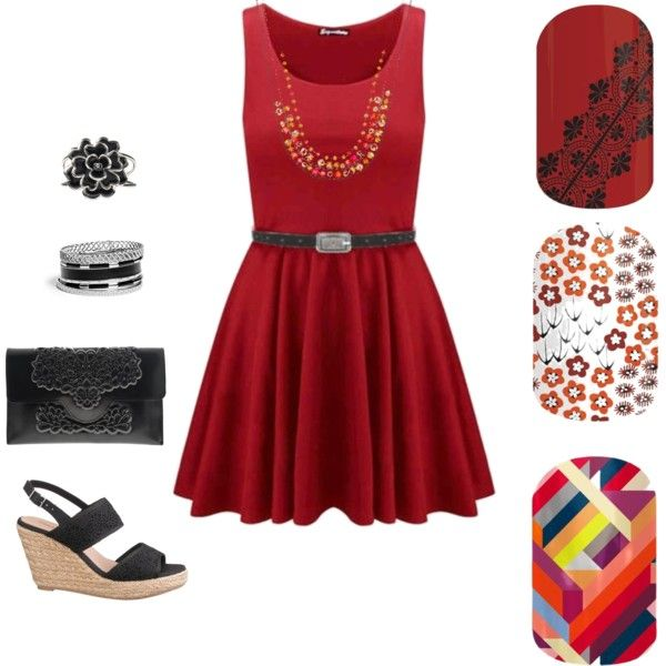 Red Jamberry Going Going Gone August 2015 by jessica-osgood on Polyvore featuring beauty, Chanel, Simply Vera, GUESS, MeDusa and maurices