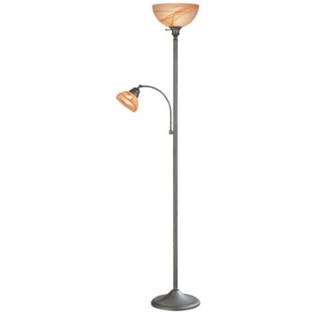 Lite source marblesk torchiere floor lamp with reading for Tertial floor reading lamp