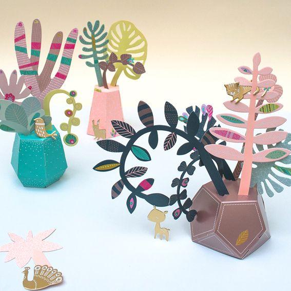 mini labo, jardin tropical, jardin, origami, DIY, stickers