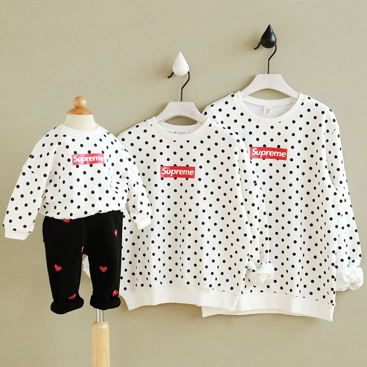 2016 Autumn Winter Family Matching Clothes Cotton Polka Dot Hoodies Papa Mama and kids outfits clothes warm t shirt