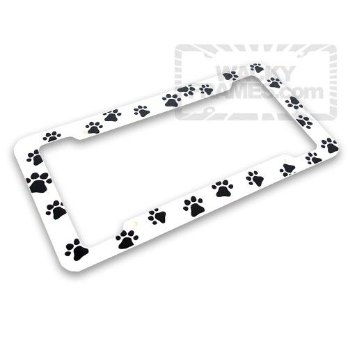 Plastic Paw Print License Plate Frame