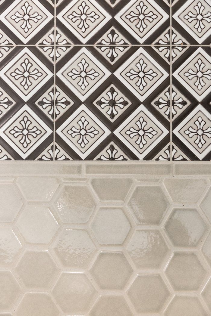 A Cool Take on Classic Style | Installation Gallery | Fireclay Tile Foggy Morning and Murietta in black and white