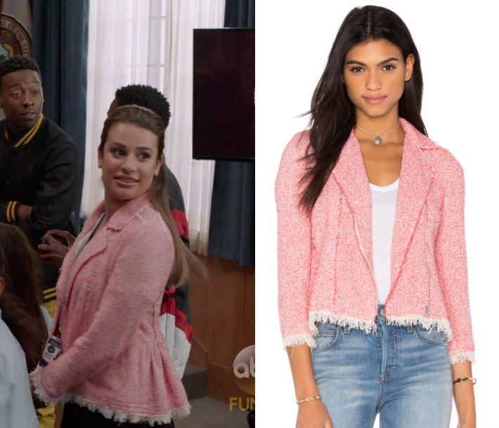 "by Kirsty0 Comments Valentina Barella (Lea Michele) wears this pink tweed moto jacket in this episode of The Mayor, ""The Filiburners"". It is the Rebecca Taylor Summer Tweed Jacket in Coral"