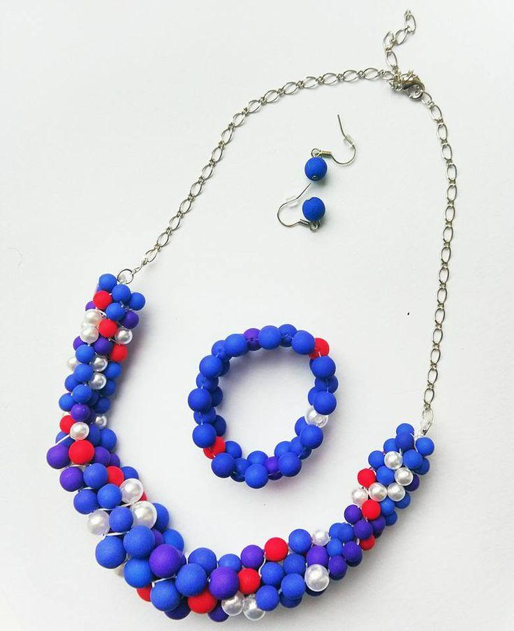 Kumihimo necklace, bracelet & earrings set. Made by UstriZeny:Retuseva.