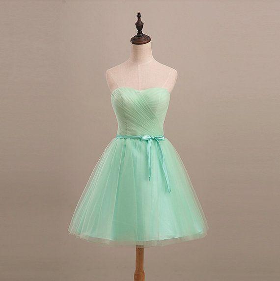 Mint Bridesmaid A-line Dress Long / Short Pure by JewelToneWedding