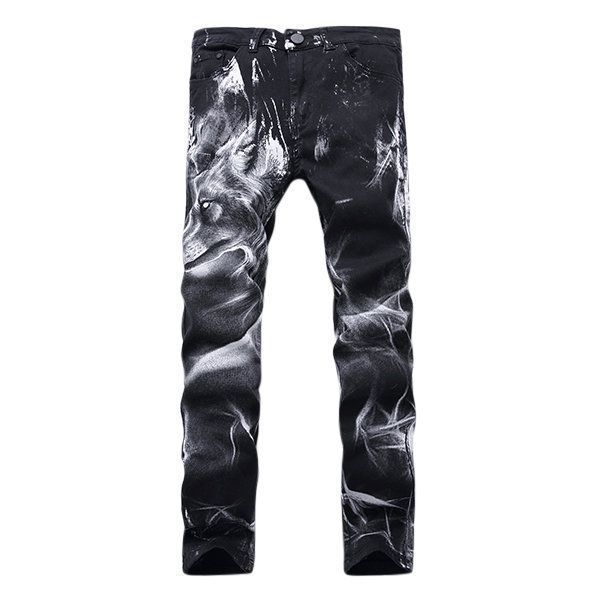 0fbfded83fb Motorcycle Vintange Wolf Printing Folds High Elastic Slim Ripped Jeans for  Men