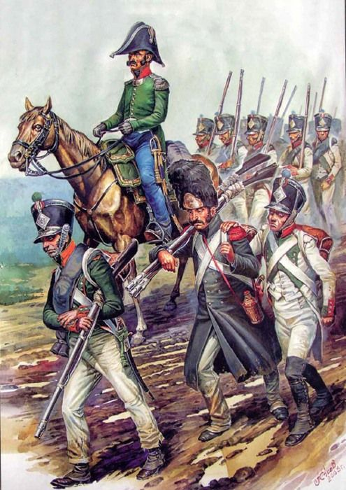 """""""March of Pinot's Division, 16 July 1812"""".  Painting by Alexander YEZHOV. Based on a lithograph by Albrecht Adam.  July 16, 1812 at 10 pm, Napoleon left Vilna and hurried north through the deep to Vitebsk in the direction of the main forces of the Grand Army. The emperor hoped to finally force the Russian General Barclay de Tolly to accept battle. Napoleon was tired of the useless pursuit of the First Western Army, whose commander, he thought, did not dare to engage him in battle.  Since…"""