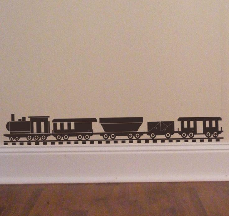 Choo Choo Train set - Vinyl Wall Decal - Decorate a Toybox - Boys Locomotive Bedroom Decor by HouseHoldWords on Etsy https://www.etsy.com/listing/39834864/choo-choo-train-set-vinyl-wall-decal