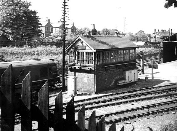 Bishop Auckland signal box in 1963 with the junction of the Durham line (nearest the camera) and the Wear Valley Railway (Bishop Auckland to Wearhead & Bishop Auckland to the Tyne Valley via Crook, Tow Law, Burnhill Junction, Consett etc.) Photo by Roy Lambeth