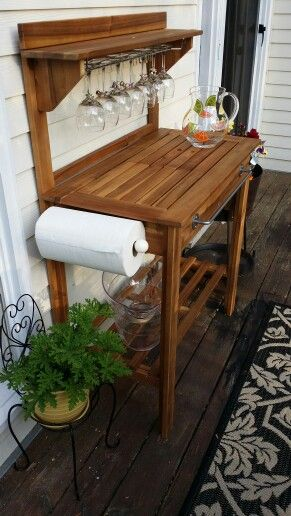 Potting Bench turned into Outdoor Bar