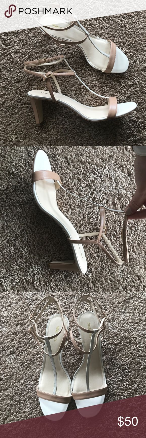 NWOT Nine West strappy heels Natural tan & cream strappy heels. Never worn!! Bought them for graduation but never ended up wearing them. Very elegant🎀 Fit true to size. Nine West Shoes Sandals