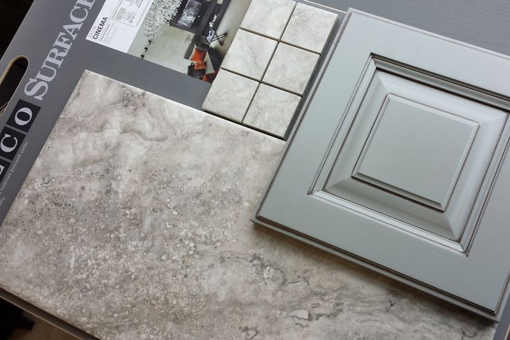 """Thomasville Cabinet door in """"Baltic Bay"""" & Porcelain Tile in """"Cinema - Silver"""" .... for my cottage kitchen"""