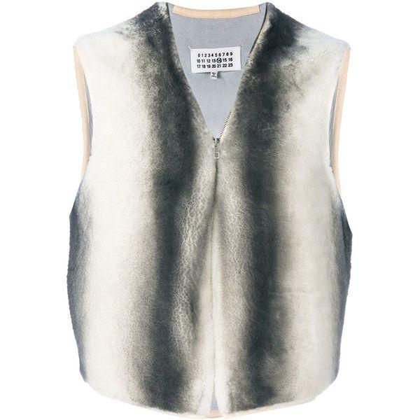 Maison Margiela dyed stripe gilet (5.310 RON) ❤ liked on Polyvore featuring men's fashion, men's clothing, men's outerwear, men's vests, white, mens fur vest, mens v neck vest, mens gilet vest, mens white vest and mens sleeveless vest
