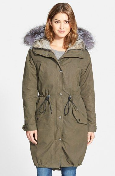 Andrew+Marc+Oversize+Army+Parka+with+Genuine+Fox+Fur+Trim+&+Rabbit+Fur+Liner+available+at+#Nordstrom