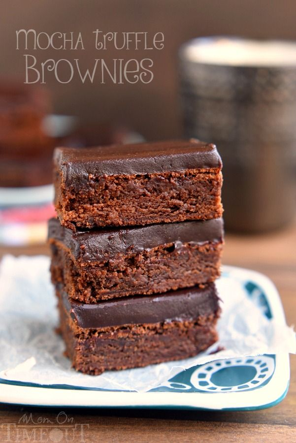 Decadent Mocha Truffle Brownies are just what your sweet tooth is craving. Rich mocha brownies are topped with a decadent chocolate ganache frosting.