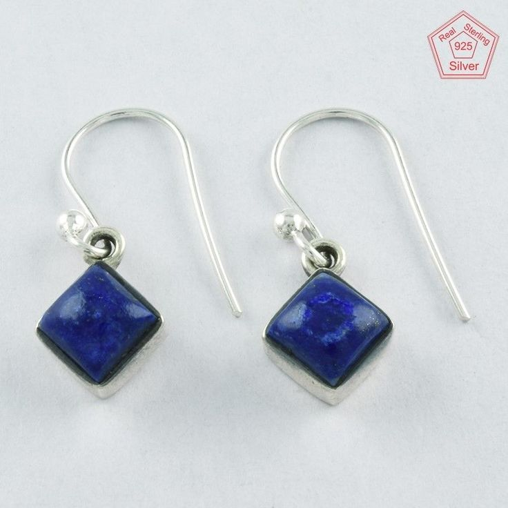 Lovely 1.8 gm Lapis Stone Sterling Silver 925 Jewelry Earrings $ 9.99 #SilvexImagesIndiaPvtLtd #DropDangle