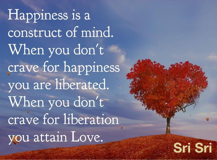 Happiness is a construct of mind. When you don't crave for happiness you are liberated. When you don't crave for liberation you attain Love. - #SriSri Ravi Shankar