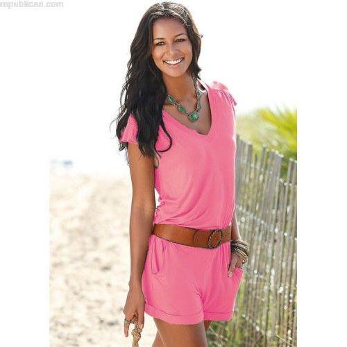 UK Womens Short Sleeve Holiday Mini Playsuit Ladies Summer Beach Shorts Jumpsuit fKxEtErK