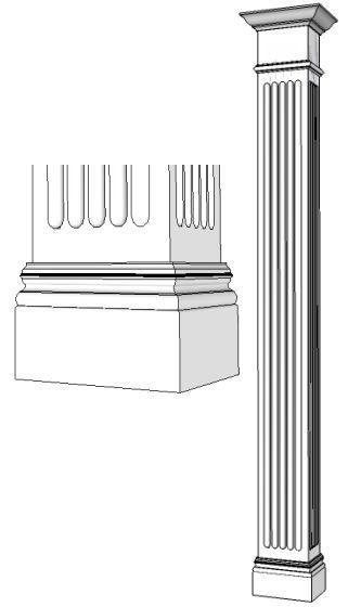 Square TRADITIONAL Fluted Column