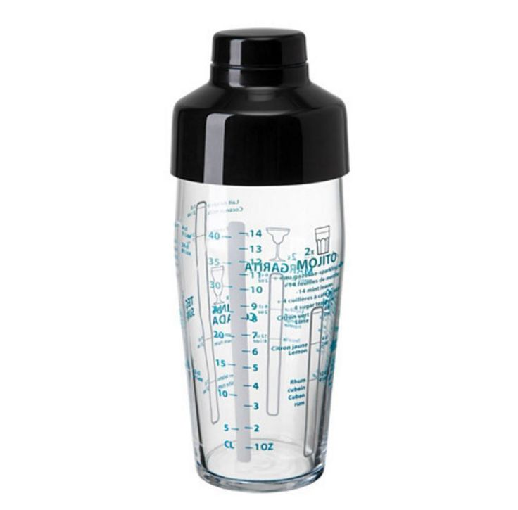 Clear Glass Cocktail  Shaker/ Mixer - For Martini/ Mojito/Cosmos- Black/Glass