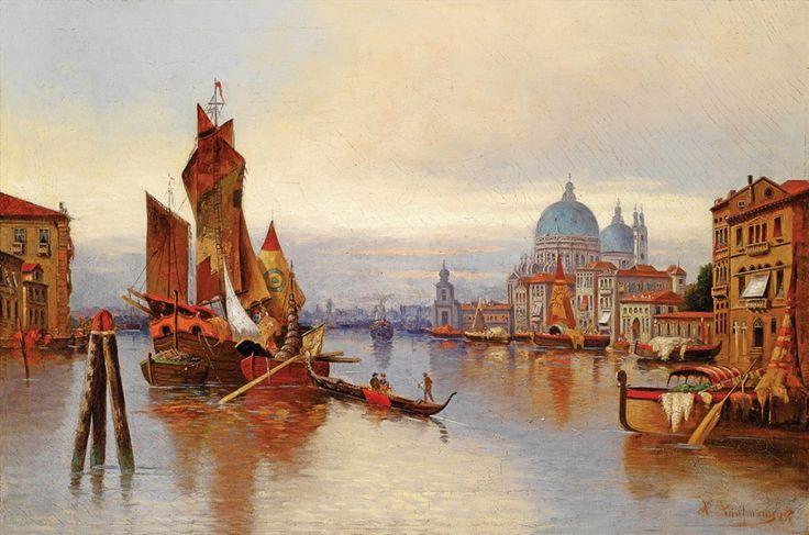 Венеция, Гранд-канал, австрийский художник Кауфман Карл,